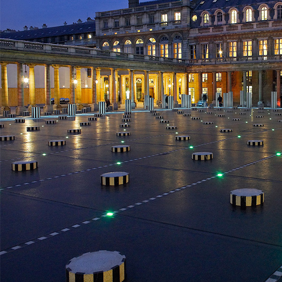 Les Deux Plateaux at the Palais-Royal in Paris, a work embellished with LEDs